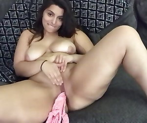 porn Rubbing pussy & stripping Thick Indian, solo